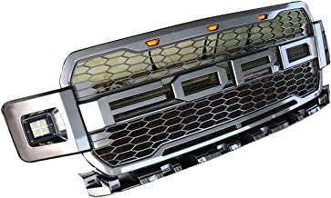 Replacement ABS Grille with LED Lights for 2018 FORD F150, Front Grille-Charcoal Gray (Gray With lights)