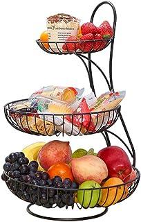 karadrova Corbeille a Fruit Argent Panier a Fruit 3 /Étages Grand Panier a Fruits a Etages M/étal Panier Legumes Rangement Fruit 30 x 45 cm Porte de Rangement Fruits
