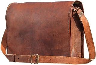 SC 15 Inch genuine Goat leather messenger bag in vintage style leather Satchel School Women Handbag College Crossbody Bag ...