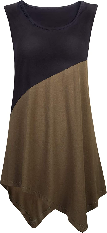 Necery Women's Sleeveless Tunic Top Award-winning store for Shirt Color Block 2021 model Leggin