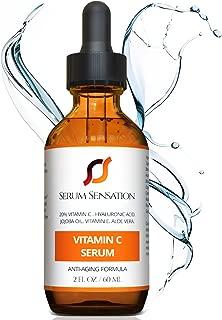Serum Sensation Vitamin C Serum with Hyaluronic Acid, 2 fl oz, Organic Anti-Aging, Brightening Serum and Acne Scar Treatment
