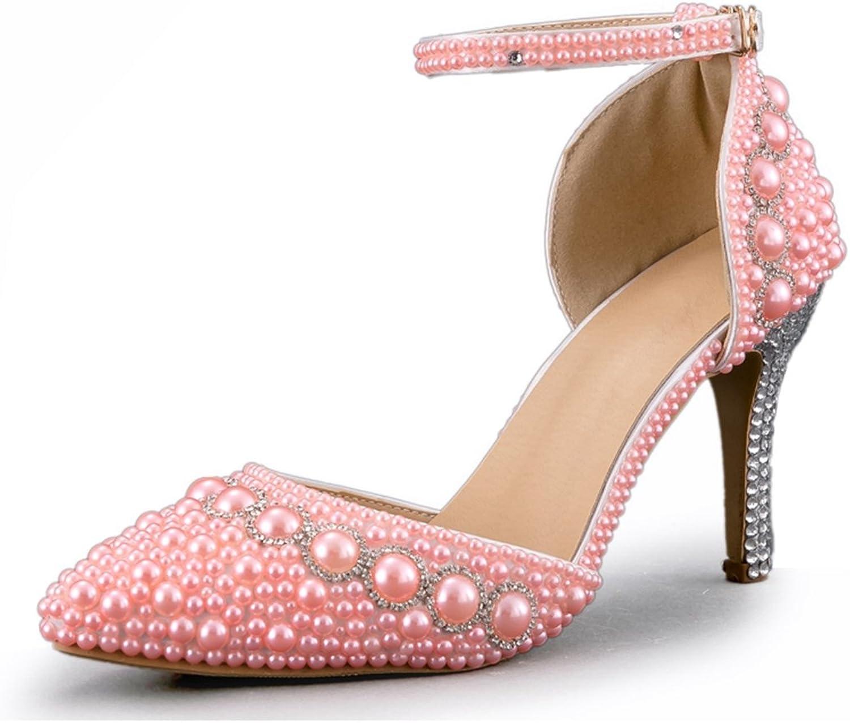 Minishion Women's Handmade Beading Bridal Wedding shoes with Pearl Rhinestone