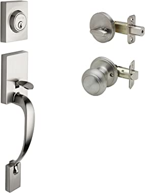 Copper Creek FZ2610XCK-SS Craftsman Front Door Handle Set with Colonial Knob Trim, Satin Stainless
