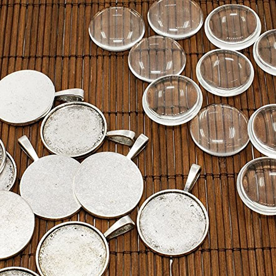 PEPPERLONELY Brand 10 Sets Antiqued Silver Cabochon Frame Setting Tray Pendant with Clear Round Glass Dome Tile Cabochon 25mm (1 Inch)
