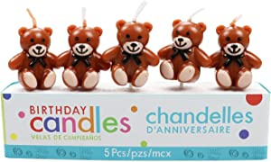 CheeseandU 5Pcs/Set Teddy Bear Birthday Candles Cute Brown Bear with Bowtie Birthday Candles for Kids Birthday Cake Decoration Bear Theme Party Supplies Baby Shower Party Wedding Candle Party Supplies