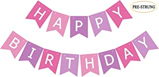 Pre Strung Pink Purple Birthday Banner, Happy Bday Party Bunting Sign Decoration for Girl Women