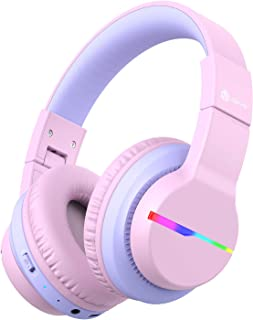 iClever BTH12 Kids Headphones, Colorful LED Lights Kids Bluetooth Headphones with 74/85/94dB Volume Limited Over Ear, 40H ...