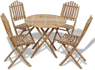 vidaXL Juego de Comedor de Jardín Plegable 5 Piezas de Bambú Mesa Sillas Patio