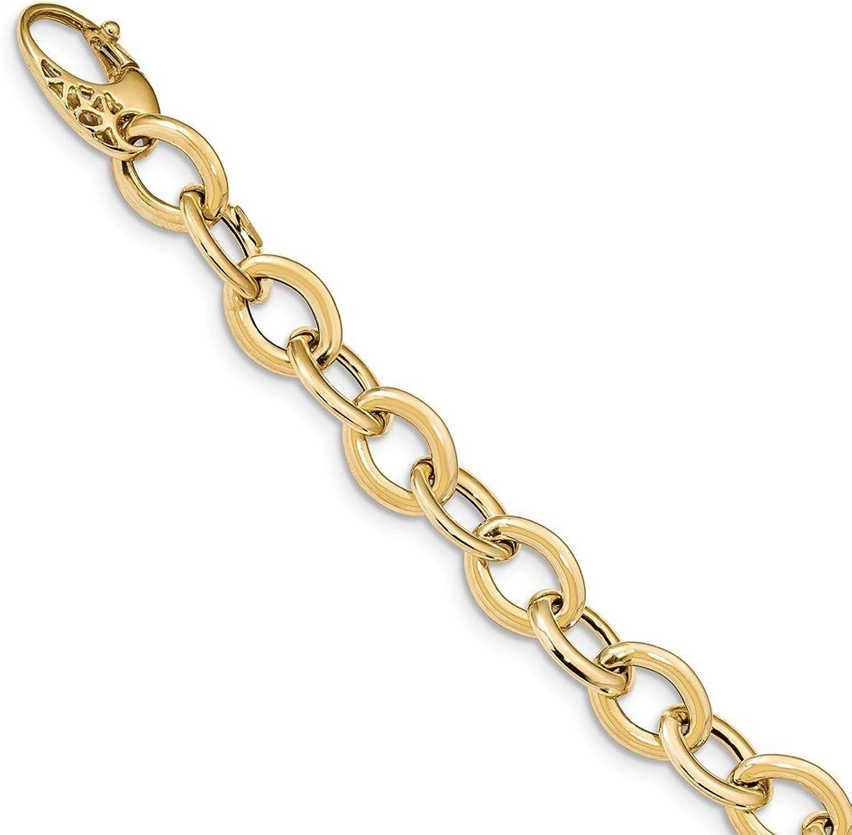 14k Yellow gold Fancy Oval Link Bracelet 8.5inch