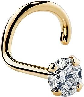 Genuine Diamond Nose Ring Stud 14K Yellow Gold Nose Ring Twist Screw I1 Clarity 20 Gauge