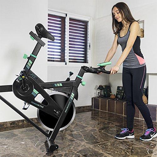Cecotec Bicicleta Spinning Estática con Volante de Inercia de 13 Kg PowerActive. Silenciosa, Ergonómica, Pulsómetro, Manillar y Sillín Regulable, Pantalla LCD, Ruedas, Peso máximo 120 Kg