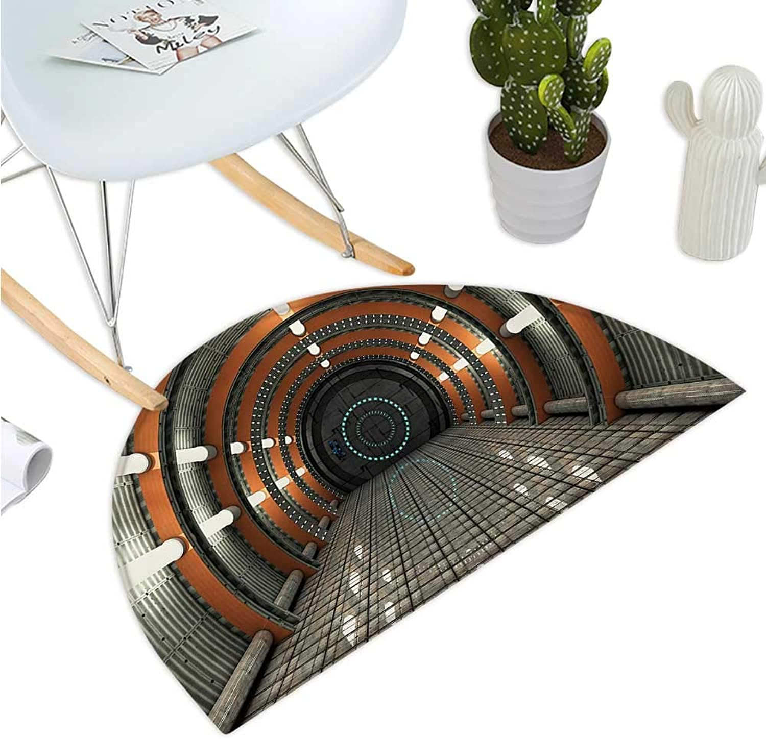 Outer Space Semicircular Cushion Digital Orbital Station Room Artificial Satellite in Earth Navigation Center Entry Door Mat H 35.4  xD 53.1  Multicolor