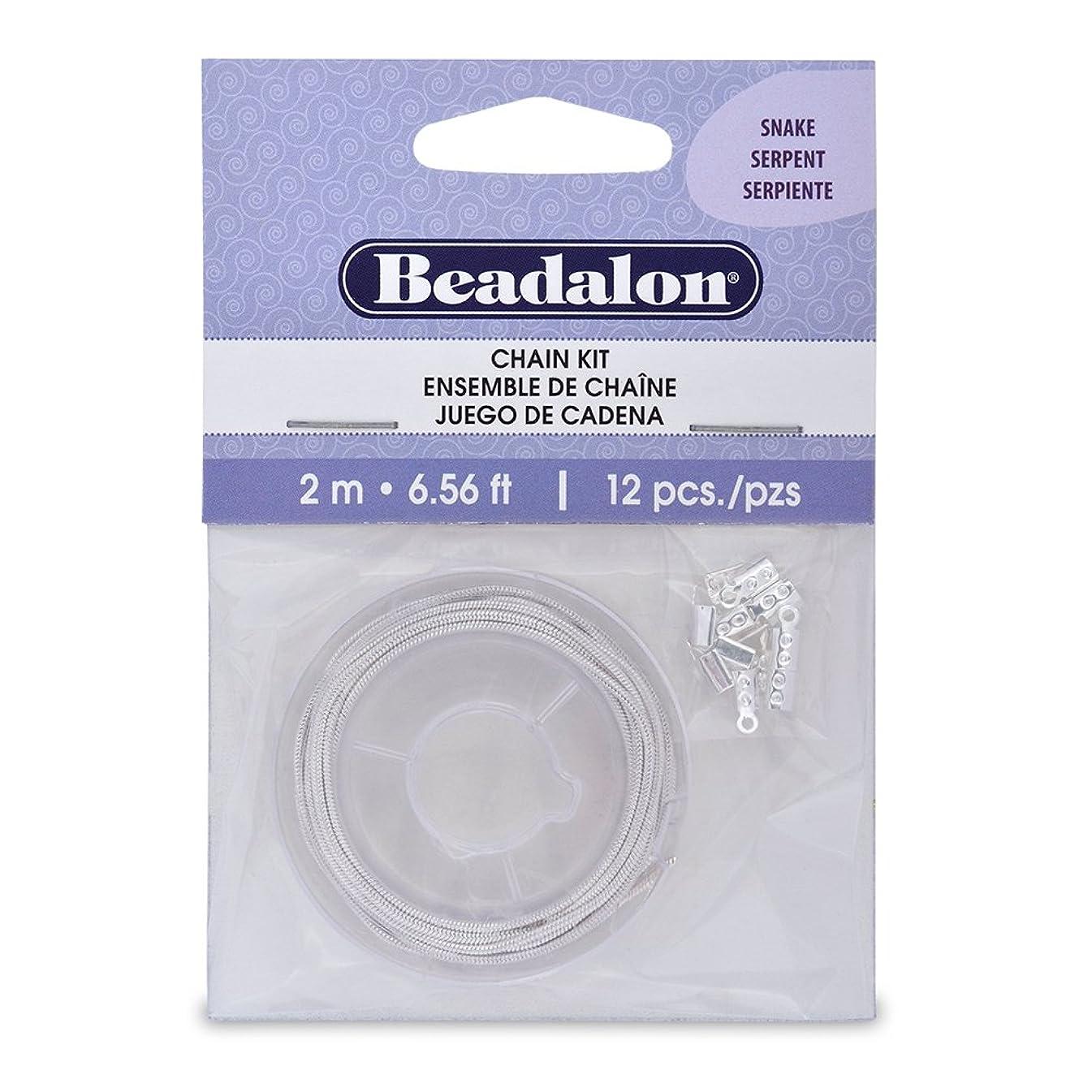 Beadalon Chain Kit 1-1/2mm Snake Silver Plated, 2-Meters
