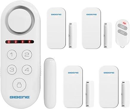 BIBENE Door Alarm System Home Security DIY Kit, 4 Zones, Loud 130dB, 2-In-1 Host, One Button Remote, Expandable 40 Door Window Motion Sensors, Password Required Burglar Alert Security System D3-1