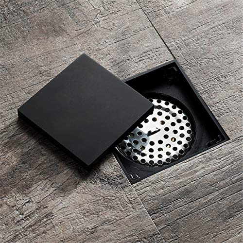 Sink pluizenzeef 4 inch onzichtbare messing bad bodemafvoer met afneembare platte afdekking tegels leeg roosterfilter zwart vierkant douche 100 * 100MM zwart