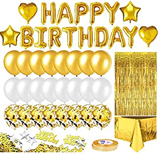 VCOM【2021 NEW】Gold Birthday Party Decor, Happy Birthday Banner, Golden Fringe Curtain, Foil Tablecloth, Heart Star Foil Co...