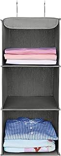 [Amazonブランド] Umi.(ウミ) 吊り下げ収納 衣類ラック 3段 折り畳み 不織布製 クローゼット 取り付け簡単 フック2個付 (グレー)