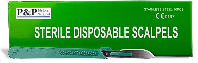 Disposable Scalpels Sterile Surgical Blade Size 22 Stainless Steel with Plastic Handle & Metric Line Individually Foil Wrapped by P&P MEDICAL SURGICAL Box of 10