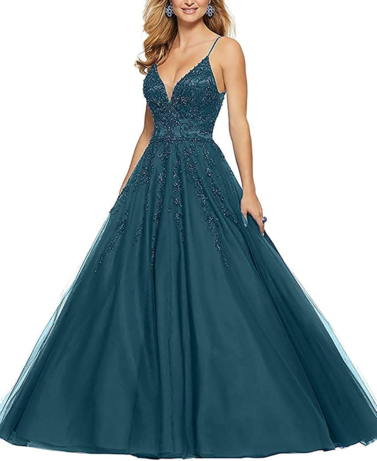 ANFF Women's Hand Made Prom Dresses Long Beaded Backless Evening Gowns