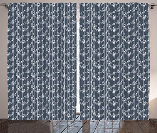 ABAKUHAUS japonés Cortinas, Gráfico de Rayas Japonesa, Sala de Estar Dormitorio Cortinas Ventana Set de Dos Paños, 280 x 260 cm, Gris carbón Oscuro Azul
