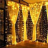 MeaMae Care Luces de cortina 3m x 3m 300 string 8 modos de iluminación USB cortina de luz para boda fiesta Navidad blanco cálido [Clase de eficiencia energética A +++]