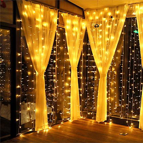 MeaMae Care Rideau Lumineux, Guirlande Lumineuse 300LED 3M*3M, 8 Modes d'Eclairage, Décoration Intérieur et Extérieur pour Noël, Mariage, Fenêtre, Pergola, Jardin, Patio, Véranda, Balcon