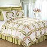 C&F Home Annie's Wedding Ring Botanical Floral Traditional Vintage Cotton 3 Piece King Sham Machine Washable Reversible Quilt Set King Green