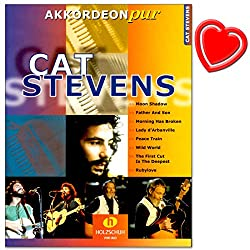Accordéon pur Cat Stevens - Offre des arrangements spéciaux au niveau moyen de difficulté - Partitions avec pince à partitions colorée en forme de cœur