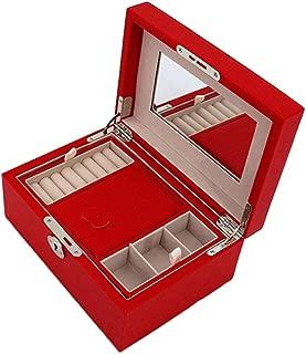Leather Jewelry Box Ring Jewelry Box Watch Storage Box Jewelry Box for Women Jewelry Organizer Box Jewelry Cabinet S10/21 (Color : RED)