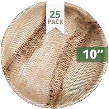 Assiettes jetables /écologiques lot de 25   biod/égradable Assiettes Eco Friendly Assiettes de f/ête /25,4/cm de c/ôt/é Areca Feuille de palmier Assiettes The Good plate/