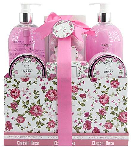 BRUBAKER Cosmetics set beauty da bagno e doccia 'Classic Rose' - con fragranze floreali di rose - set regalo in 13 pezzi presentati in un cestino in stile Vintage