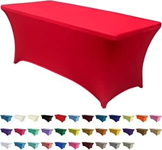 ABCCANOPY 30+ Colors Spandex Table Cover 6 ft. Fitted Polyester Tablecloth Stretch Spandex Tablecover-Table Toppers(Red)