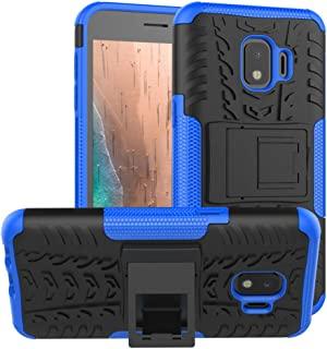 Galaxy J2 core Case,Galaxy J2 Dash/J2 Pure/J260 case,PUSHIMEI with Kickstand Hard PC Back Cover Soft TPU Protection Phone Case Cover for Samsung Galaxy J2 (2019)/Samsung Bench(Blue Kickstand case)