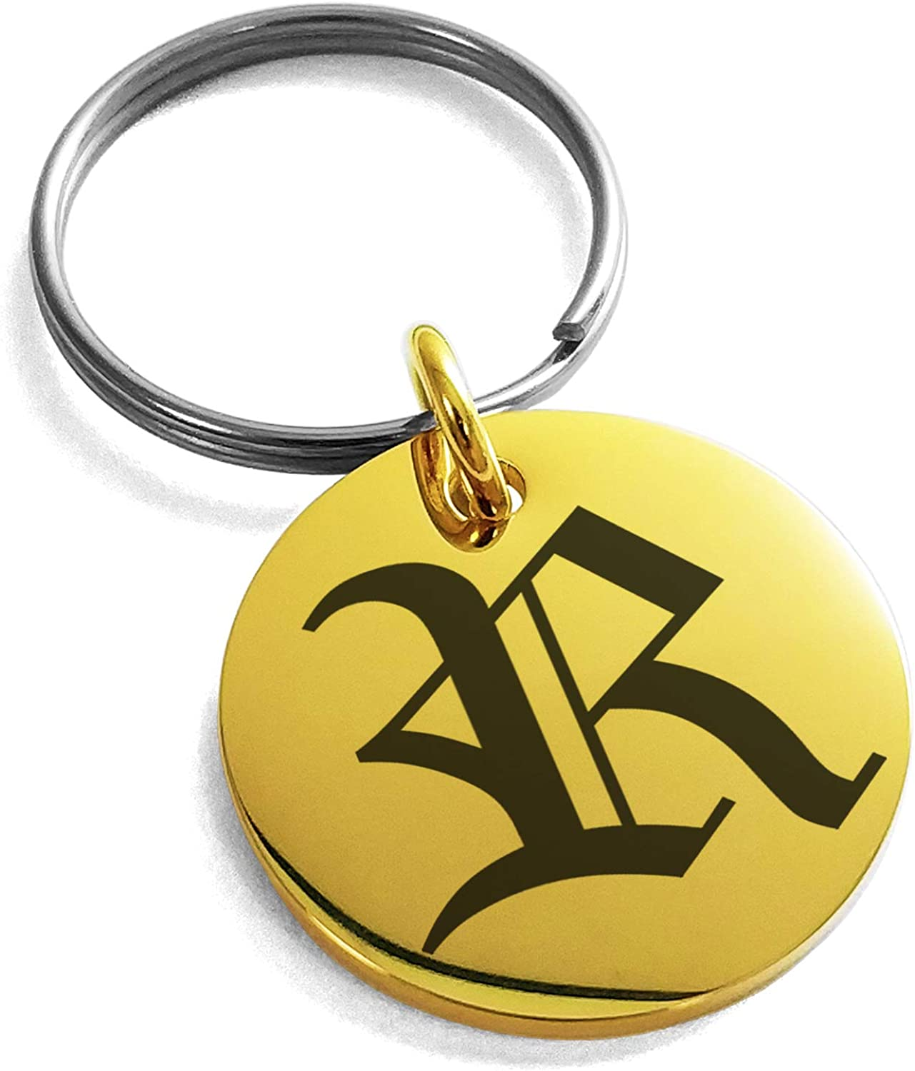 Tioneer Stainless Steel Letter R Initial Old English Monogram Small Medallion Circle Charm Keychain Keyring