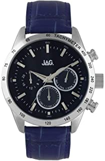 JAG Jag Mens Blue Face Chronograph Watch J2165 Leather|Stainless Steel 3 Hands|Chronograph 9325452001827