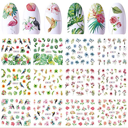 Nail Decals for Women Nail Art Stickers Water Transfer Decals Design 12 Sheets Flower Leaf Parrot Nail Tattoo Paper DIY Nail Art Supplies Manicure Acrylic Nail Foil Stencils Decorations Accessories