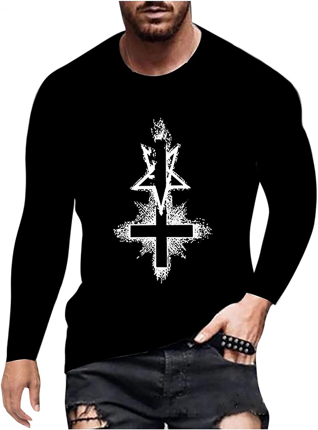 Long Sleeve Tee Shirts for Men Fashion Graphic Men's T Shirts Round Neck Athletic Sweatshirt Casual Sport Pullover