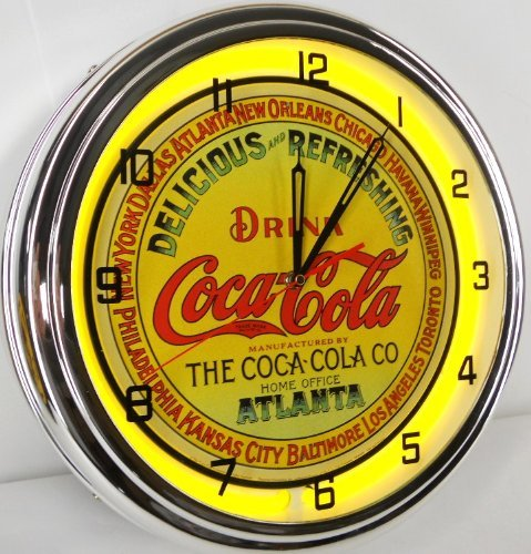 Coca Cola Keg Label 15' Neon Wall Clock Lighted Sign Yellow