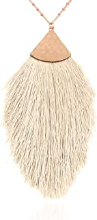 Antique Bohemian Silky Thread Fan Tassel Statement Necklace - Vintage Gold Feather Shape Strand Fringe Lightweight Long Chain