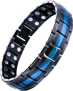 Feraco Mens Titanium Steel Magnetic Therapy دستبند با آهنرباهای دوگانه برای آرتریت درد، Black & Blue