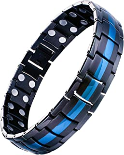 Feraco Mens Titanium Steel Magnetic Therapy Bracelet with Double Strong Magnets for..