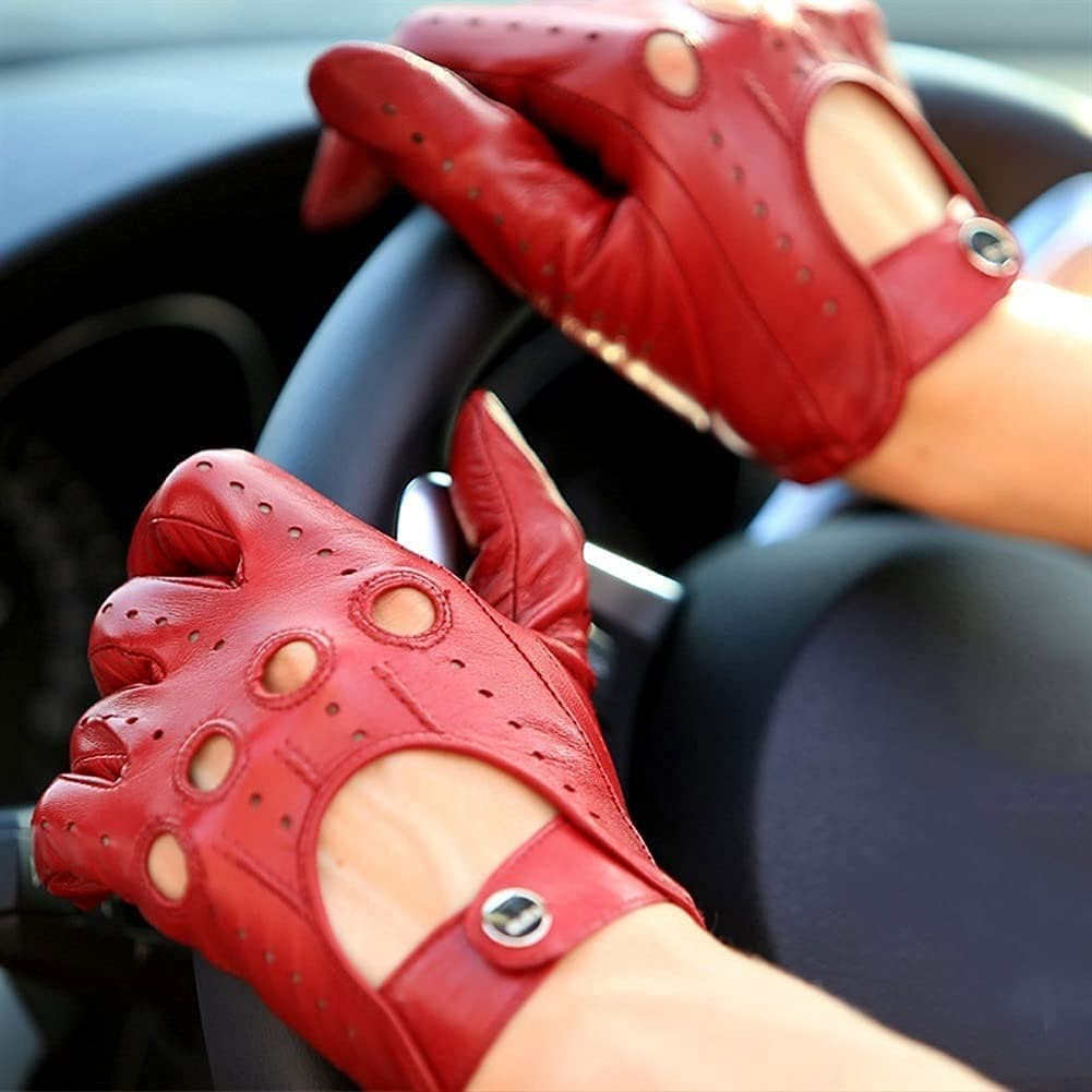 Kioiien Women Autumn Sheepskin Leather Gloves Red Motorcycle Driving Gloves Texting Typing Touch Screen Mitten Windproof and Waterproof Sheepskin Gloves No Lining (Size : 8.5cm)
