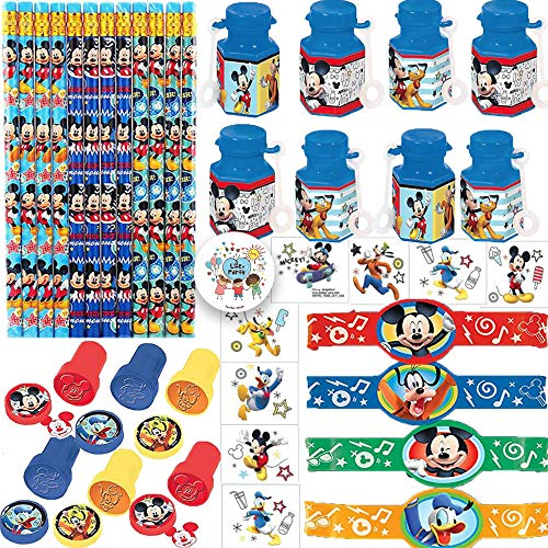 Mickey Mouse Birthday Party Favor Pack and Goodie Bag Filler For 12 With Mickey Bubbles, Tattoos, Pencils, Rubber Bracelets, Stampers, and Exclusive Pin