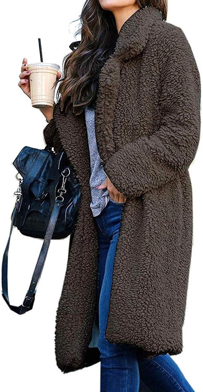 OopStyle Women's Fuzzy Fleece Lapel Open Front Long Cardigan Coat Overcoat Faux Fur Warm Winter Outwear with Pocket