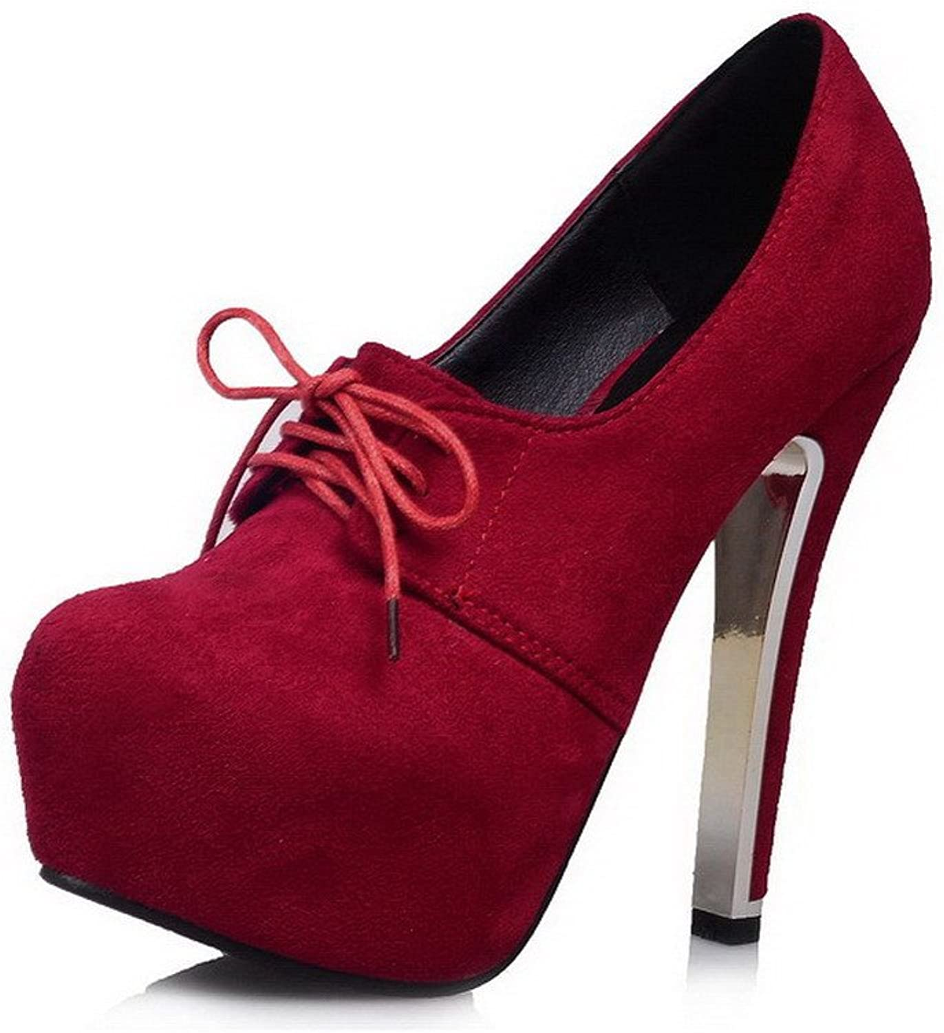 AmoonyFashion Women's Closed-toe Frosted Lace-up High-heels Pumps-shoes