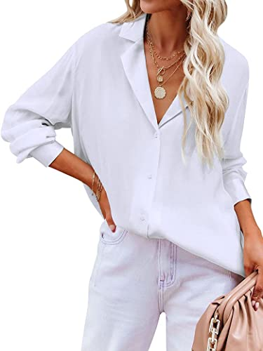 Ezcosplay V Neck Blouses Button Down Shirt Notch Lapel Collar Tops for Women Business Casual