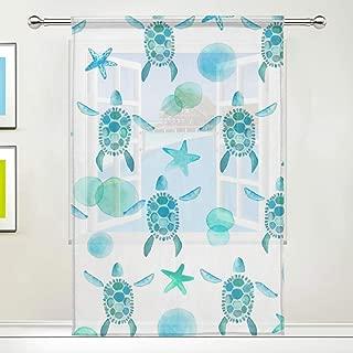 TSWEETHOME Sea Turtle Bubble Starfish Window Treatments Sheer Curtains Draperies for Living Room, Bedroom, Nursery Sliding Glass Door