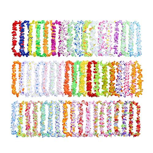 TAH Collar de flores hawaianas, 50 unidades, tropicales hawaianas Luau, flores Lei Garland hawaianas, collar para luau, verano, fiesta, decoración