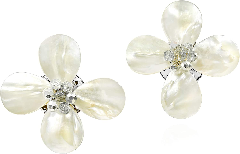Beautiful & Elegant Mother of Pearl Flower Clip-on Earrings