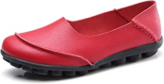 ALLY UNION MAKE FORCE Womens Leather Loafers Casual Slip-on Moccasins Comfort Driving Flats Shoes